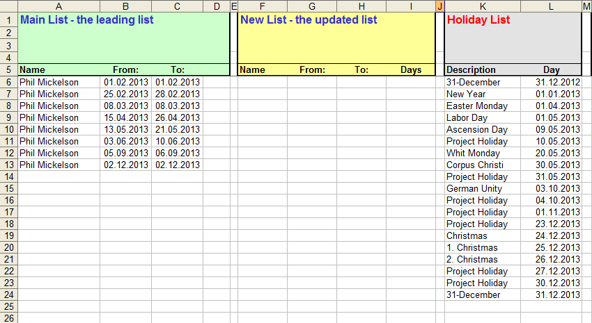 Excel file with nonworking time for each team member and project holidays
