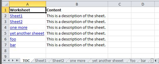 Adding a table of contents to workbooks in Excel – Table of Contents Worksheet